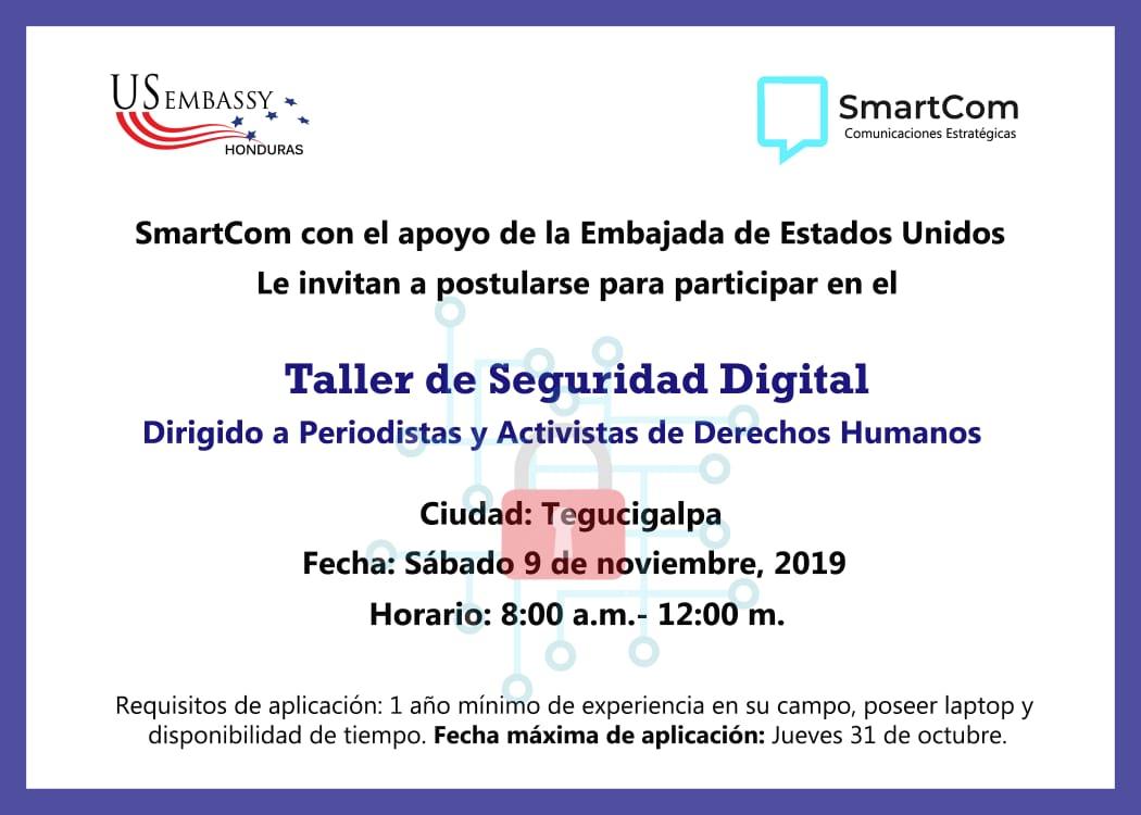 SmartCom ofrece 25 becas para taller de Seguridad Digital en Tegucigalpa